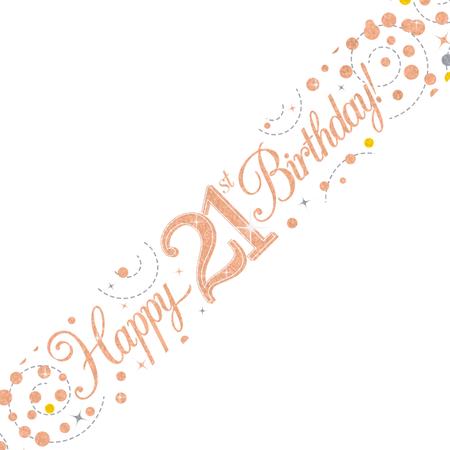 Happy Birthday banner 21 Rosé goud