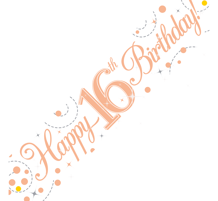 Happy Birthday banner 16 Rosé goud