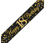 Happy Birthday banner 18 jaar goud zwart