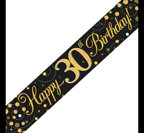 Happy Birthday banner 30 jaar goud zwart