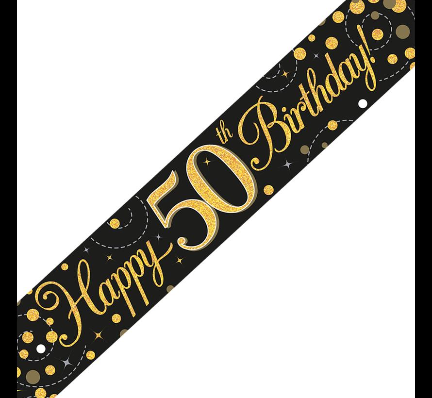 Happy Birthday banner 50 jaar goud zwart