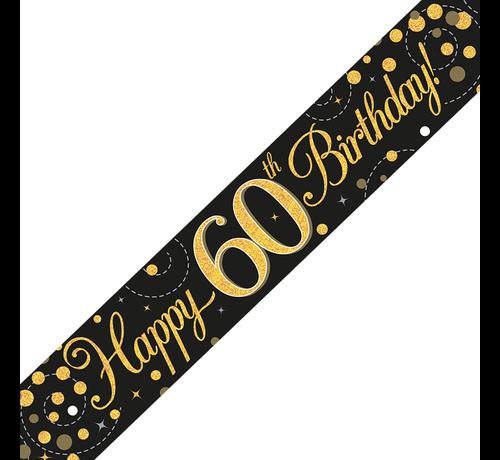 Happy Birthday banner 60 jaar goud zwart