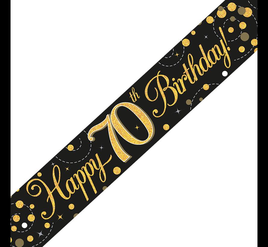 Happy Birthday banner 70 jaar goud zwart