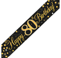 Happy Birthday banner 80 jaar goud zwart