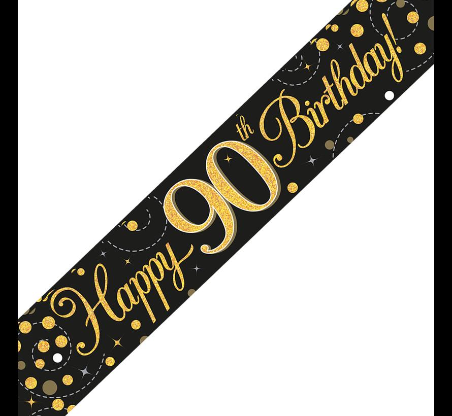 Happy Birthday banner 90 jaar goud zwart