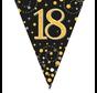 Glitter vlaggenlijn 18 jaar goud-zwart