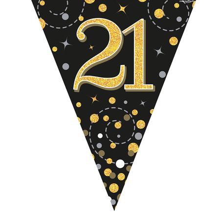 Glitter vlaggenlijn 21 jaar goud-zwart