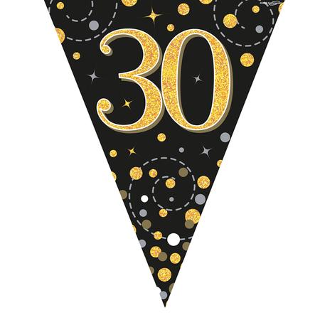 Glitter vlaggenlijn 30 jaar goud-zwart