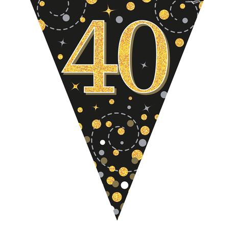 Glitter vlaggenlijn 40 jaar goud-zwart