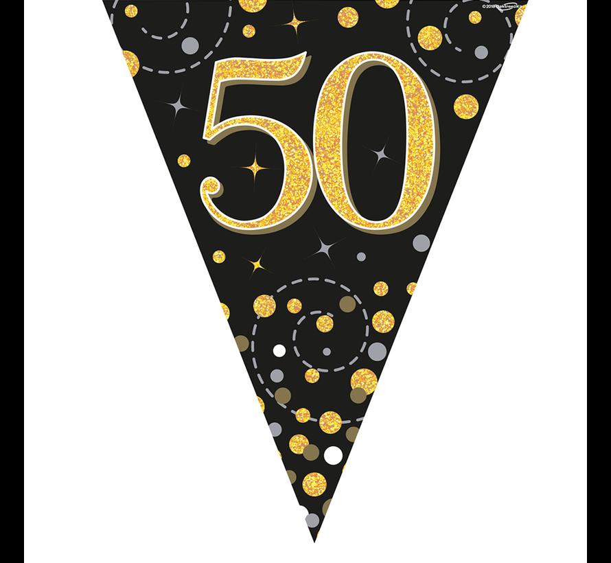 Glitter vlaggenlijn 50 jaar goud-zwart