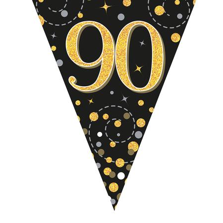 Glitter vlaggenlijn 90 jaar goud-zwart