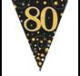 Glitter vlaggenlijn 80 jaar goud-zwart