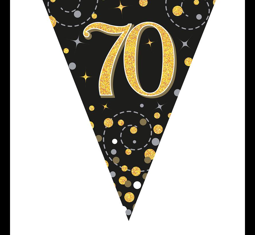 Glitter vlaggenlijn 70 jaar goud-zwart