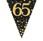 Glitter vlaggenlijn 65 jaar goud-zwart