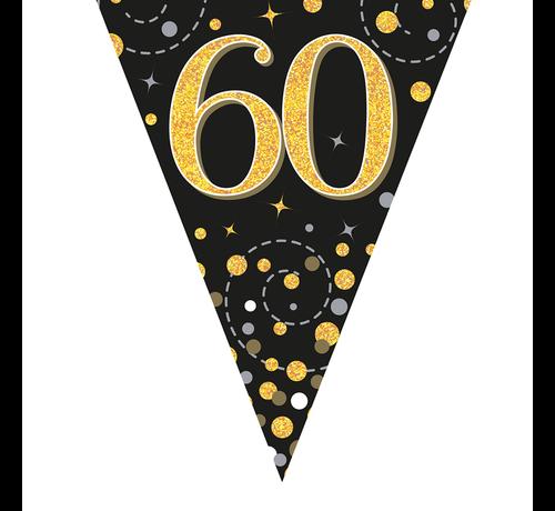 Glitter vlaggenlijn 60 jaar goud-zwart
