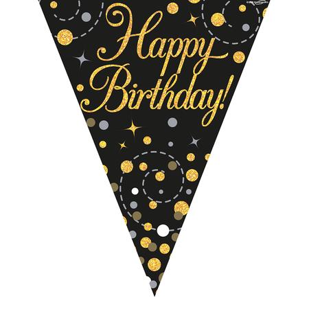 Vlaggenlijn Happy Birthday  zwart goud