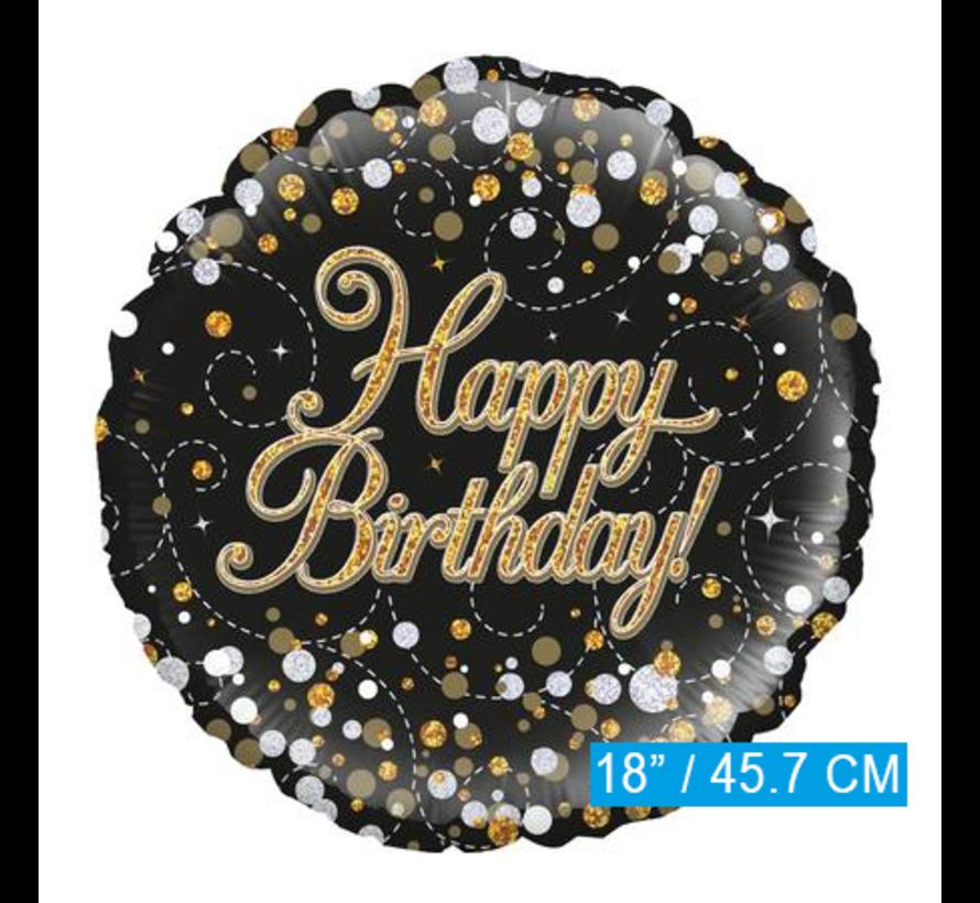 Happy Birthday folie ballon zwart goud