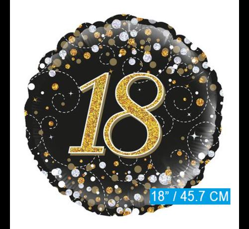 Glitter helium folie-ballon 18 jaar zwart goud