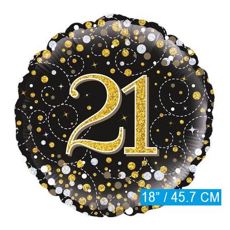 Glitter helium folie-ballon 21 jaar zwart goud