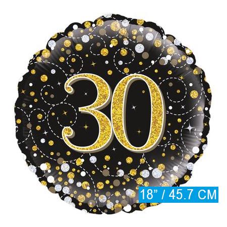 Glitter helium folie-ballon 30 jaar zwart goud
