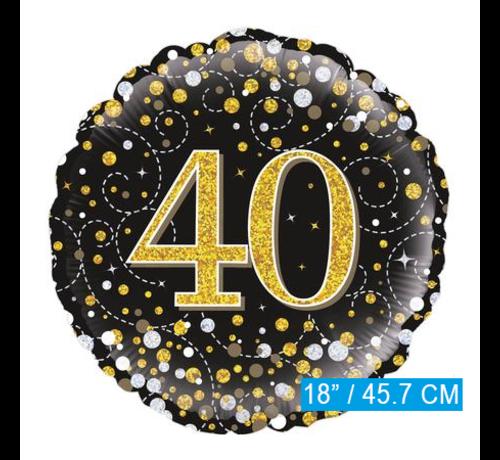 Glitter helium folie-ballon 40 jaar zwart goud