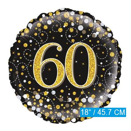 Glitter helium folie-ballon 60 jaar zwart goud