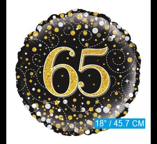 Glitter helium folie-ballon 65  jaar zwart goud