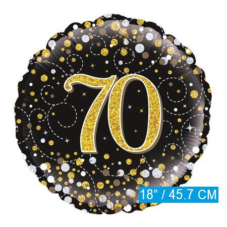 Glitter helium folie-ballon 70  jaar zwart goud