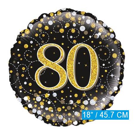 Glitter helium folie-ballon 80 jaar zwart goud