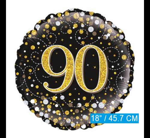 Glitter helium folie-ballon 90 jaar zwart goud