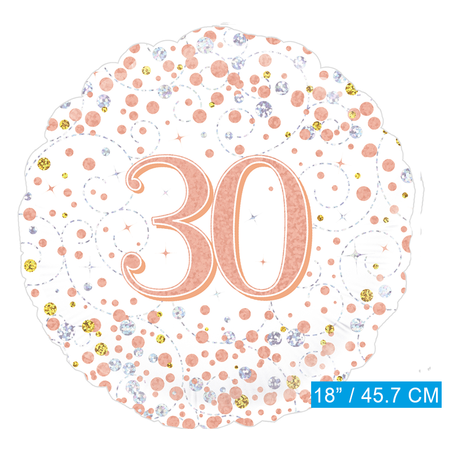 Helium folie ballon 30 jaar rosé-goud