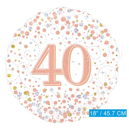 Helium folie-ballon 40 jaar rosé-goud