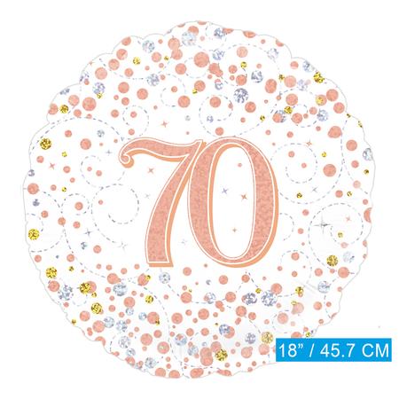 Helium folie-ballon 70 jaar rosé-goud