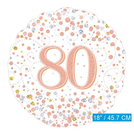 Helium folie-ballon 80 jaar rosé-goud