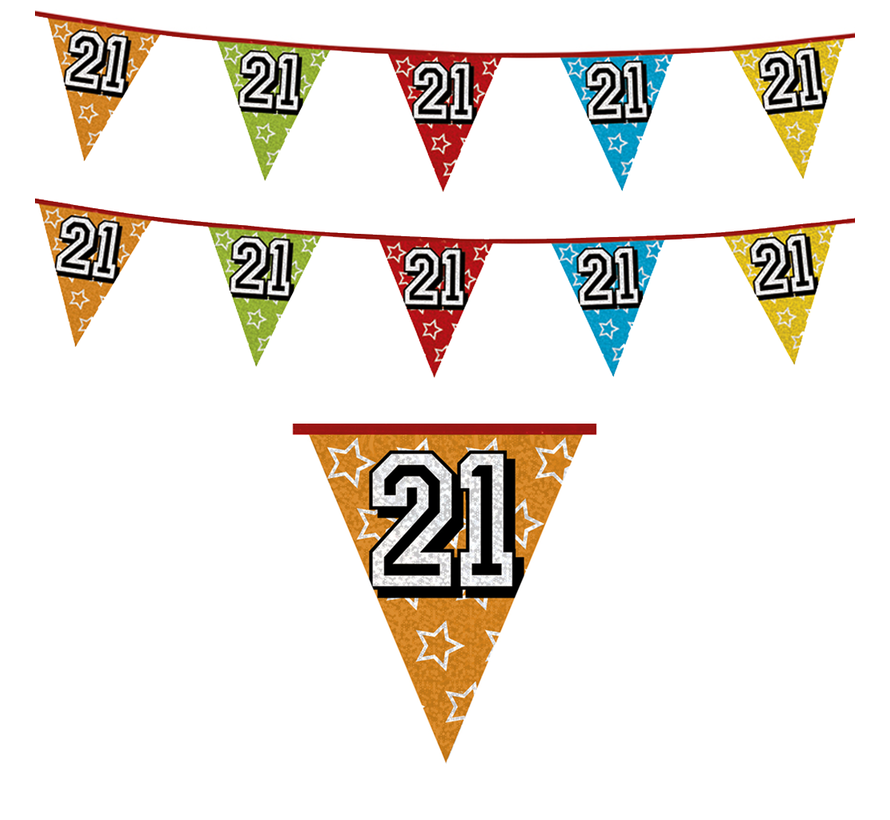 Vlaggenlijn 21 jaar versiering