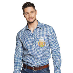 Oktoberfest shirt blauw wit geruit