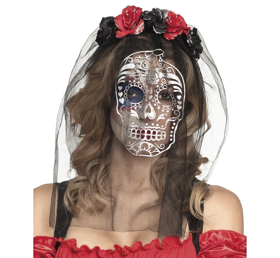 Zwarte sluier met masker tiara