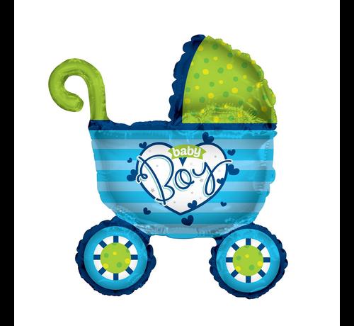 Folie ballon kinderwagen blauw