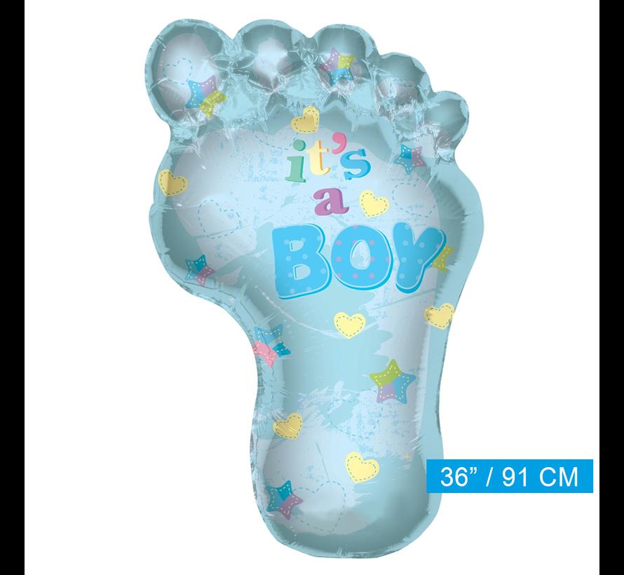 Helium baby ballon blauw kindervoetje