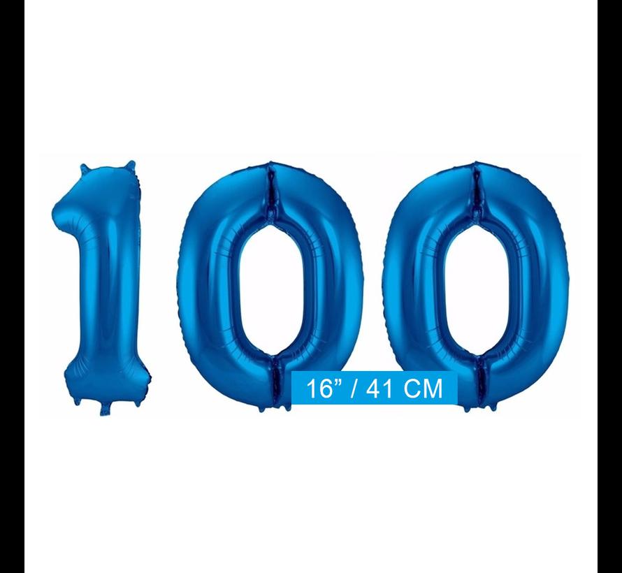 Cijfer Folie ballonnen 100 blauw