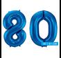 Cijfer folie ballonnen 80 blauw