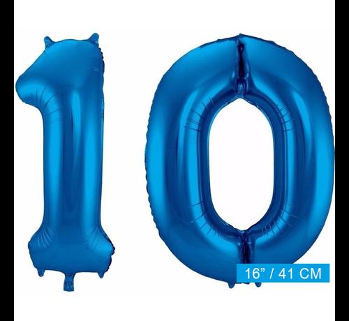 Cijfer folie ballonnen 10 blauw