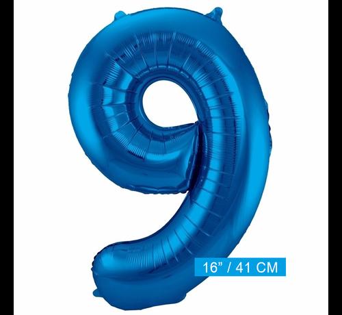 Folieballon 9 blauw