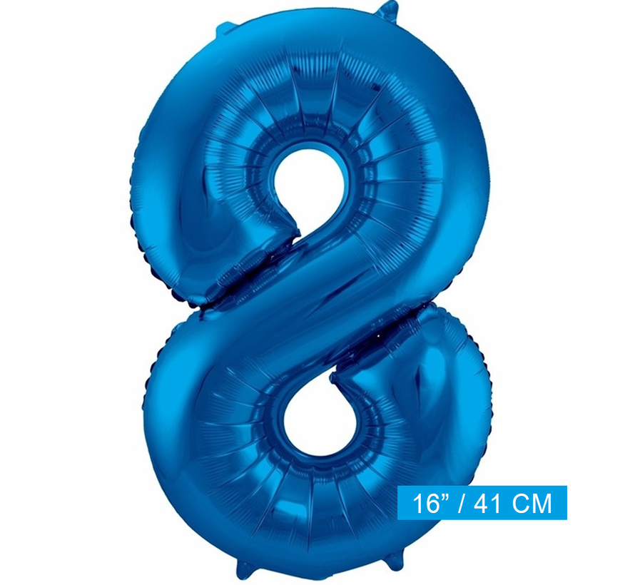 Folieballon 8 blauw