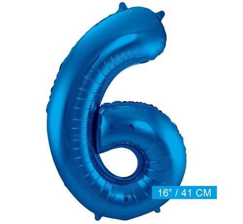Folieballon 6 blauw
