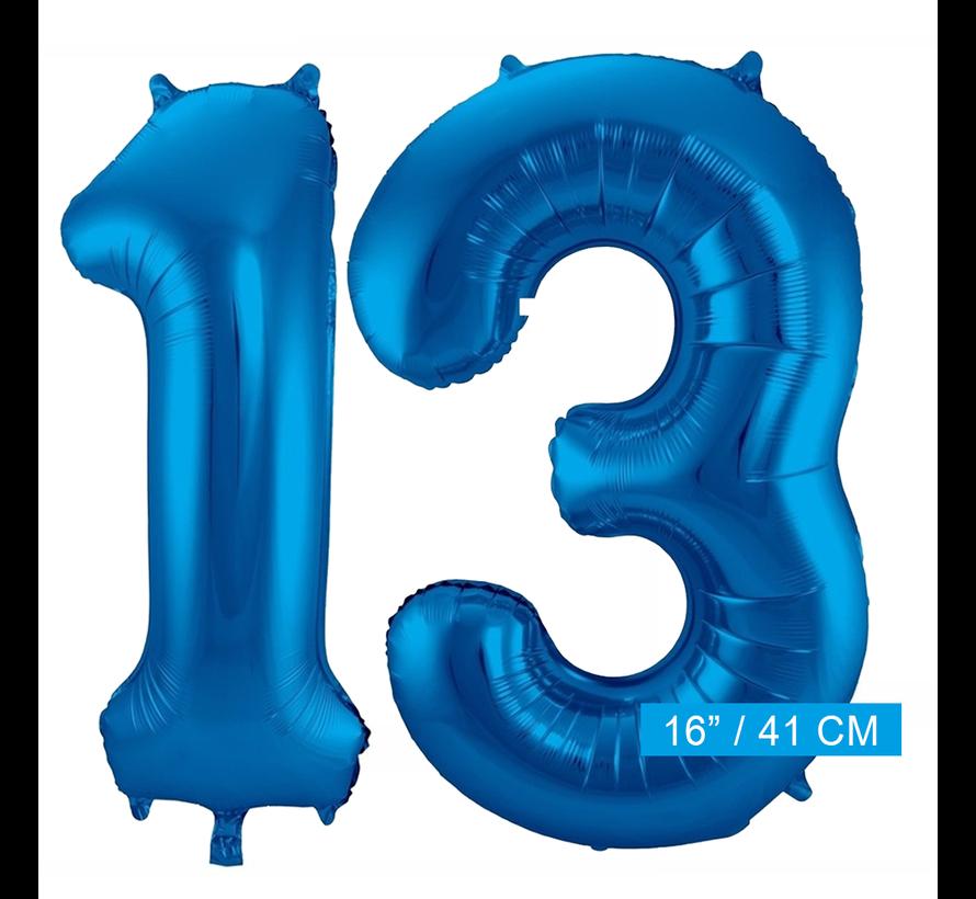 Cijfer folie ballonnen 13 blauw
