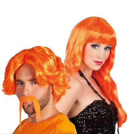 Oranje pruiken voor feesten