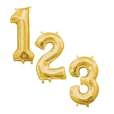 Cijfervormige folie ballonnen goud