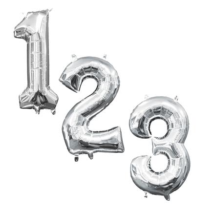 Cijfer-vormige folie ballonnen cijfers zilver