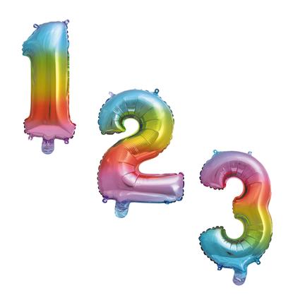 regenboog cijfers ballonnen
